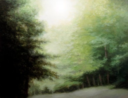 "at bear den creek lisa pecore oil on panel, 40"" x 48"""