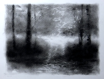 bear den creek, study lisa pecore charcoal, matted size 16x20 $50