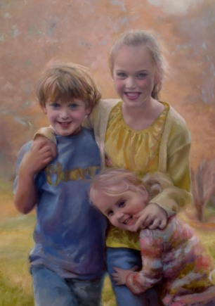Daley, Joe & Max portrait commission oil on panel, 33x22""